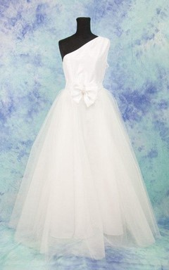 One Shoulder A-Line Tulle Wedding Dress With Bow
