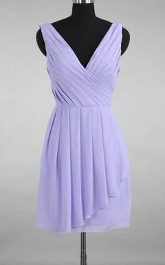 Asymmetrical Strapped V-neck Chiffon&Satin Dress