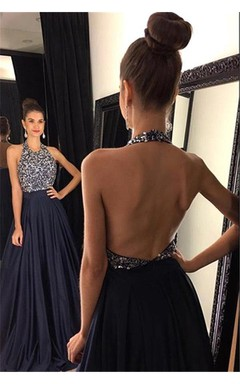 Sexy Black Halter 2016 Prom Dresses Backless Long Chiffon With Beadings
