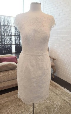 Sheath Pencil Short Lace Dress With Low-V Back
