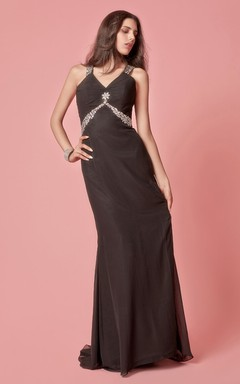 Crystal-beaded Jersey Sheath Gown With Criss-cross Back