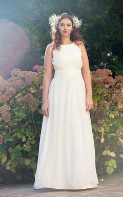 Jewel Sleeveless Long Chiffon Wedding Dress With Sash Fld Pleats