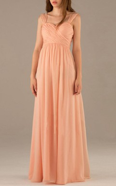 Floor-length Sweetheart Backless Chiffon Dress