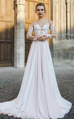 Bateau Illusion Long Sleeve Appliqued A-Line Chiffon Wedding Dress