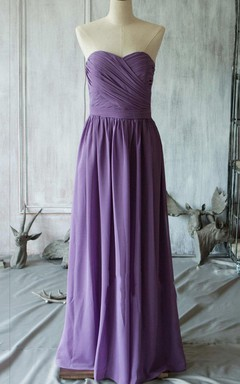 Floor-length Strapped Sweetheart Backless Chiffon Dress