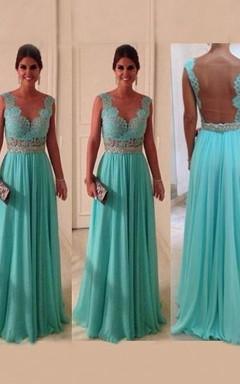 A-Line/Princess Bateau Applique Chiffon Sleeveless Dresses