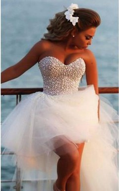 Glamorous Sweetheart Sleeveless Tulle Prom Dress With Beadings