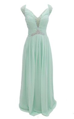 Cap-sleeve V-neck Chiffon A-line Gown With Crystal Detail