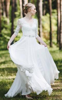 Lace Half Sleeve Chiffon Floor-Length Dress With Deep-V Back