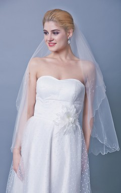 Beaded Scallop Edge Three Tier Mid Length Veil