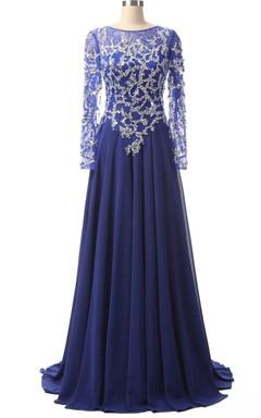 Long Sleeve Chiffon&Lace Dress