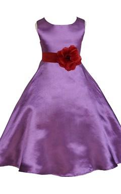 Sleeveless A-line Satin Dress With Floral Waist