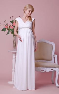V-neck Cap-sleeved Jersey Gown With Beaded Empire Waist