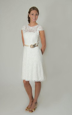 Scalloped Cap Low-V Back Lace Wedding Dress With Sash And Flower