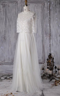 A-Line Ball Gown Floor-Length Long Sleeve Tulle Lace Dress