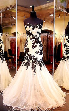 Elegant Sweetheart Black Appliques Evening Dresses 2016 Mermaid Sweetheart Tulle