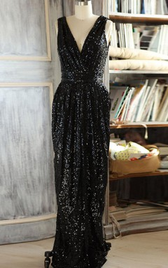 V-neck Sleeveless Sleeve Dress With Sequins&Low-V Back