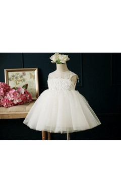 Off White Sleeveless Scoop Pleated Tulle First Communion Dress With Lace Appliques