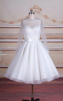 Tea-Length Long Sleeve Backless Tulle Lace Satin Dress
