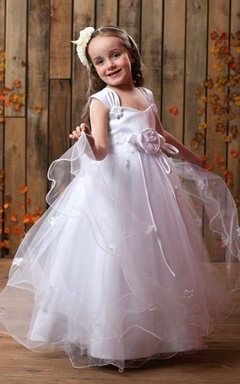Endearing Strapped Tulle A-Line Flower Girl Dress Bow