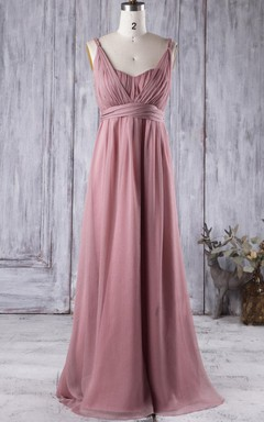 Floor-length Sweetheart Backless Chiffon Dress With Illusion