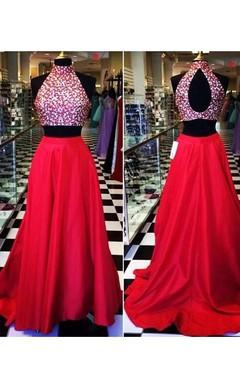 Floor-length Satin Beading Sash Jacket Keyhole Dress