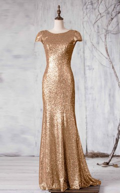 2016 Long Gold Sequin Bridesmaid Dress