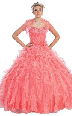 Sweetheart Organza Beaded Ball Gown With Detachable Jacket
