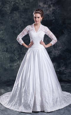 scalloped-neck long-sleeve ball a-line lace gown with court train