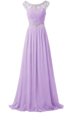 Gorgeous Cap-sleeve Scoop Crystal-beaded Chiffon A-line Dress