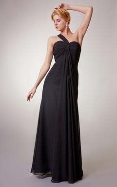 One-Shoulder Chiffon Sheath Long Dress With Ruching