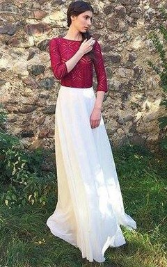 Milk Shade With Burgundy Bodice Dress