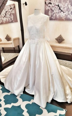 Elegant Satin Lace With Detachable Ball Gown Dress