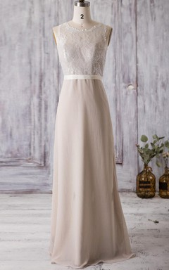 Floor-length Scoop Chiffon&Lace Dress With Illusion