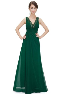 Sleeveless V-neck A-line Beaded Chiffon Gown