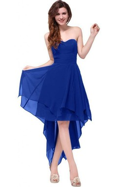Sweetheart Ruched Sash High-low Layered Chiffon Dress