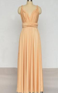 Long Infinity Bridesmaid Straight Hem Floor Length Infinity Wrap Convertible Multiway Dress