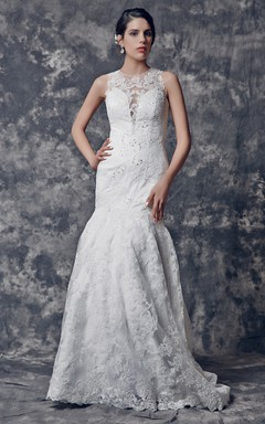 Dramatic Lace and Satin Memaid Gown With Illusion Neckline
