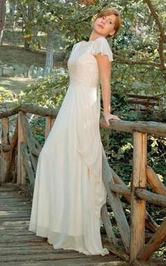 Bateau Poet-Sleeve Chiffon Lace Wedding Dress With Deep-V Back And Draping