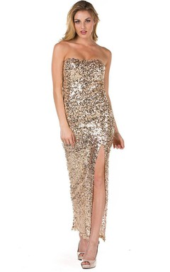 Glittering Strapless Sequin Long Dress With Front Split