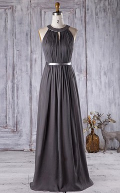 Long Chiffon Dress With Keyhole Back