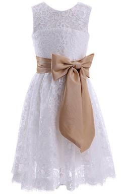 Sleeveless A-line Lace Dress With Bow and Key-hole Back