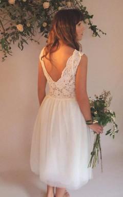 V-Neck Tulle Lace Low-V Back Wedding Dress
