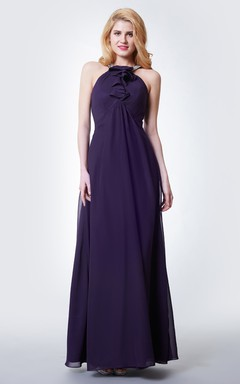 Gracious Halter Neck Empire Waist Chiffon Gown With Ruffled Detailing
