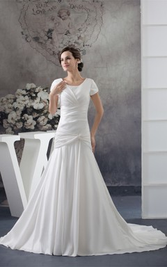 Scoop-Neckline Short-Sleeve Taffeta Gown with Criss-Cross and Beadings