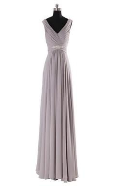 Sleeveless V-neck Long Empire Beaded Chiffon Dress