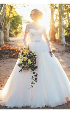 Gorgeous Long Sleeve Lace Wedding Dresses 2016 Princess Open Back