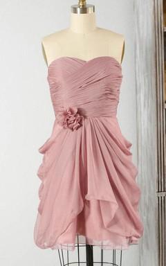 Mini Strapless Sweetheart Chiffon Dress With Draping