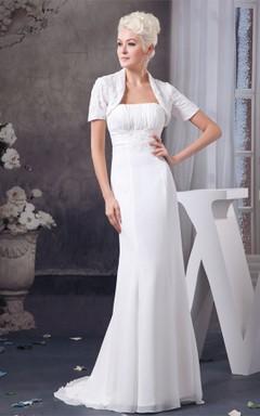 Strapless Chiffon Sheath Dress with Lace and Bolero