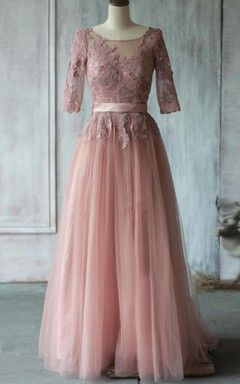 Delicate Lace Bodice Tulle Dress With Ribbon